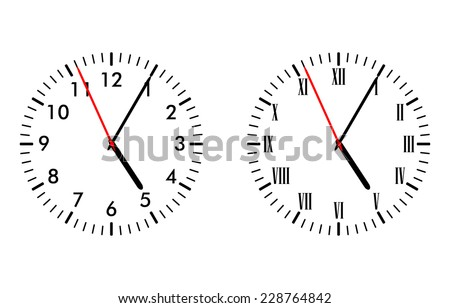 Illustration of classic and antique clock faces - stock vector