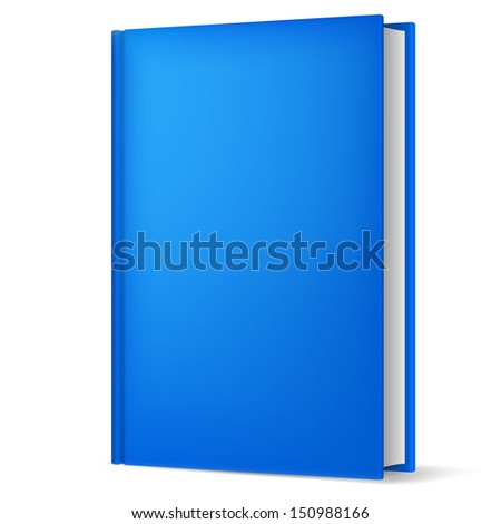 Illustration of classic blue book in front vertical view isolated on white background. - stock vector