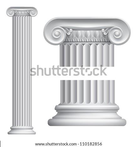 Illustration of classical Greek or Roman Ionic column - stock vector
