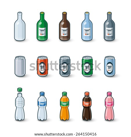 Illustration of clear glass bottle, aluminum can and plastic bottle in different color drink modification with labels.  - stock vector