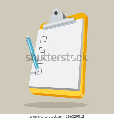 Illustration of clipboard with checklist. Concept vector graphic for Creative. - stock vector