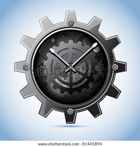 illustration of clock in shape of gear on abstract background - stock vector