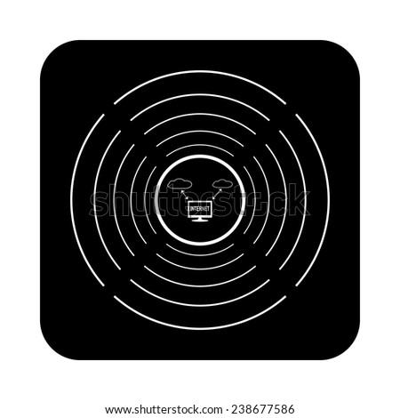 illustration of cloud storage on a black background with white circles, vector, EPS 10 - stock vector