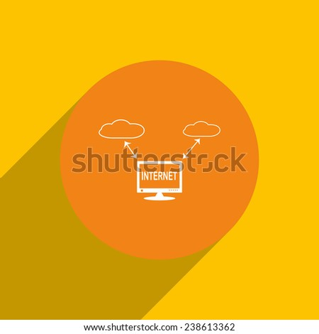 illustration of cloud storage on an orange background with shadow, vector, EPS 10 - stock vector