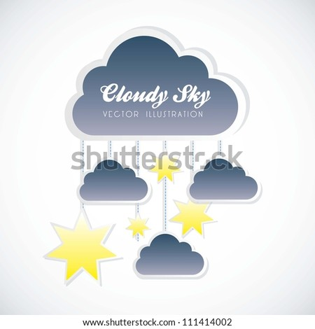 illustration of cloud with small clouds and stars hanging, vector illustration - stock vector
