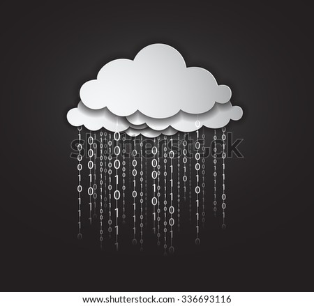 illustration of clouds computing services. many clouds services raining data in form of binary codes. the data represent the services offered by the clouds and represents the sharing and downloading. - stock vector
