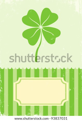 Illustration of clover with four leaves in vintage style - stock vector