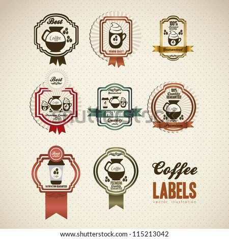 illustration of coffee icons in labels, isolated on white beige, vector illustration