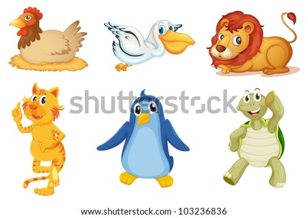 Illustration of collection of animals - stock vector