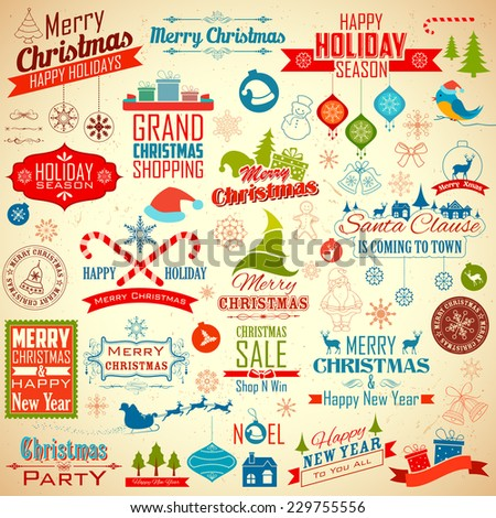 illustration of collection of calligraphic and typographic design for Christmas decoration - stock vector