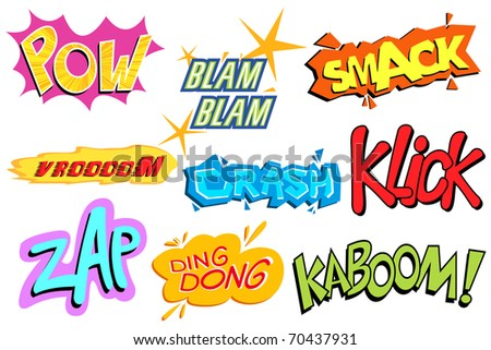 illustration of collection of comic explosion - stock vector