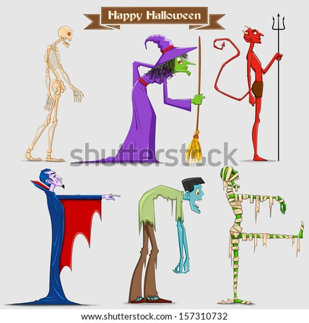 illustration of collection of Halloween Character - stock vector
