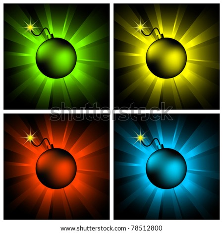 illustration of color bombs on shining backgrounds - stock vector