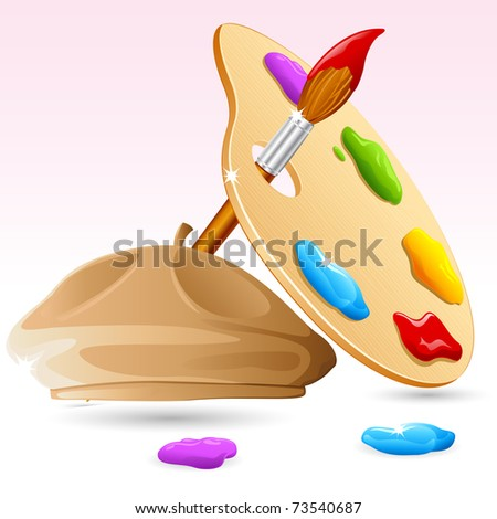 illustration of Color Brush, Color Pallet with painter cap - stock vector