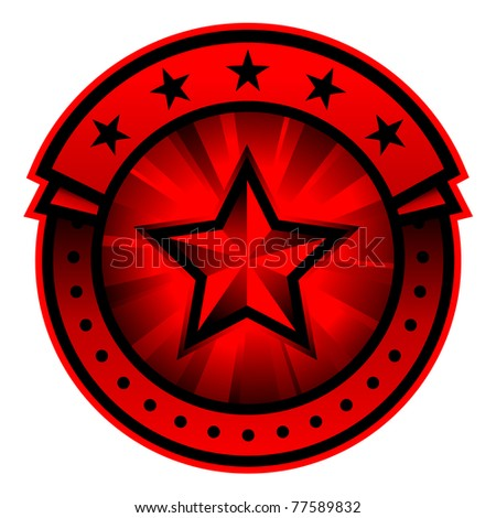 illustration of color round label with star on white