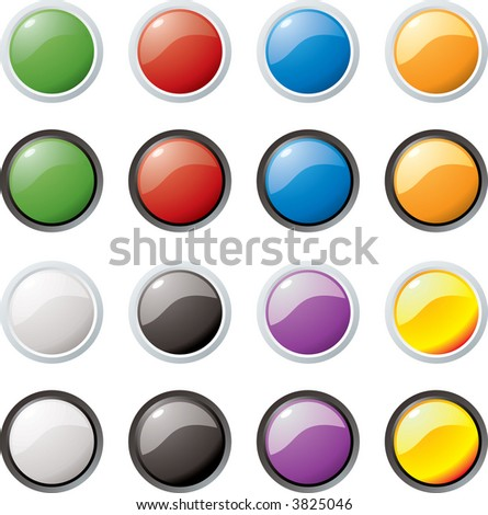 Illustration of colored buttons with an outer rim in two color variations