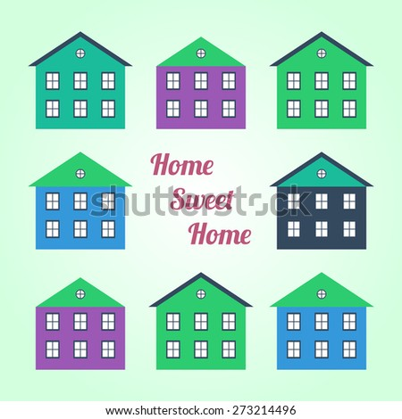Illustration of colored houses on a colored background