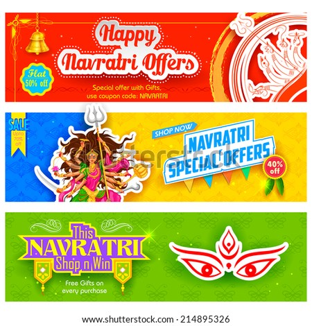 illustration of colorful banners for Happy Navratri Offer promotions - stock vector