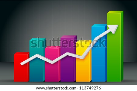 illustration of colorful bar graph with rising arrow - stock vector
