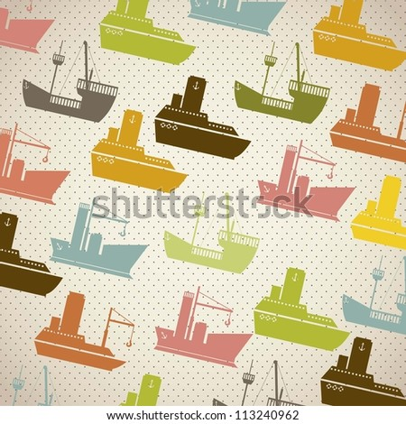 Illustration of colorful boats pattern on white background, vector illustration - stock vector