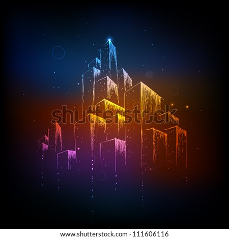 illustration of colorful building on abstract background - stock vector