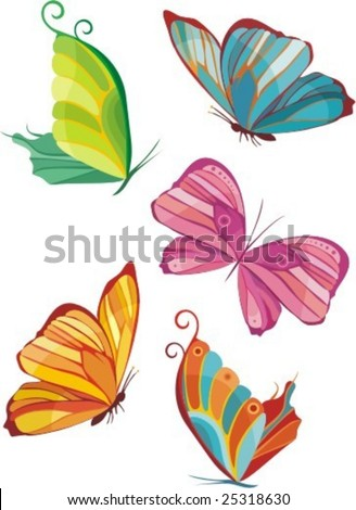 illustration of colorful butterfly's - stock vector