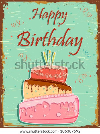 illustration of colorful cake in vintage retro happy birthday background - stock vector