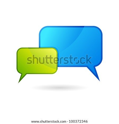 illustration of colorful chat bubble on white background - stock vector