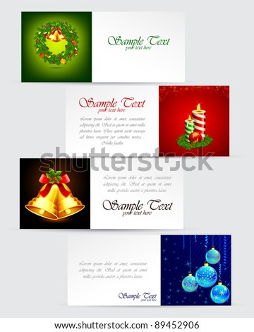 illustration of colorful christmas banner with different element - stock vector