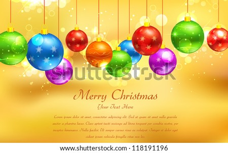 illustration of colorful Christmas bauble hanging on abstract background - stock vector