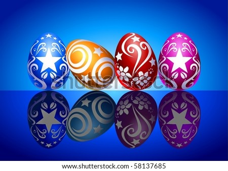 Illustration of colorful Easter eggs - stock vector