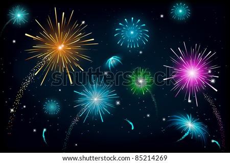 illustration of colorful fire cracker blast in sky - stock vector