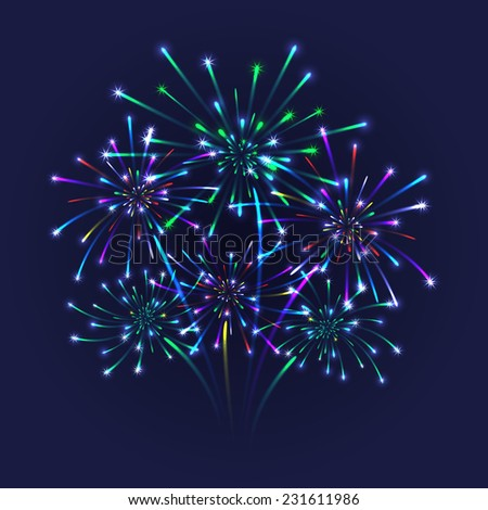 Illustration of colorful fireworks on blue background  - stock vector