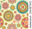 illustration of colorful floral pattern in retro style - stock photo