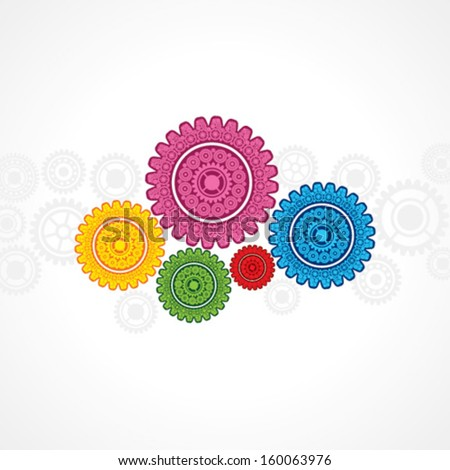 Illustration of colorful gear on white background - stock vector