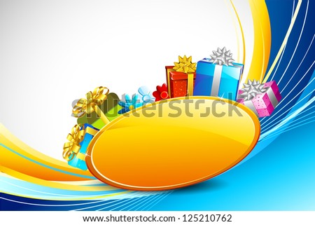 illustration of colorful gifts in abstract background