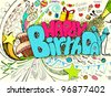 illustration of colorful happy birthday doodle - stock vector