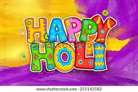 illustration of colorful Holi background in Indian kitsch style - stock vector