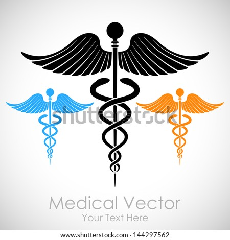illustration of colorful medical sign Caduceus - stock vector