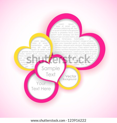 illustration of colorful paper heart for Love background - stock vector