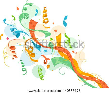 Illustration of Colorful Popping Ribbon Confetti