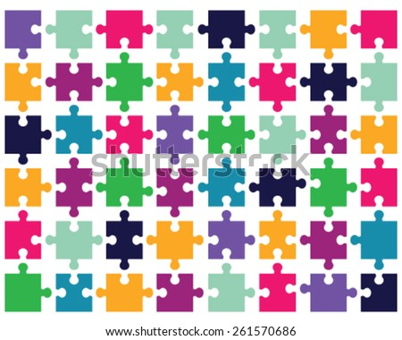 Illustration of colorful puzzle, vector - stock vector