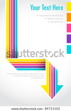 illustration of colorful retro style arrow on abstract background - stock vector