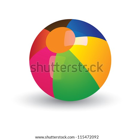 Illustration of colorful shining beach ball. The balls graphic has gradients of red, yellow, blue, green and other vivid colors and and is placed on white background - stock vector