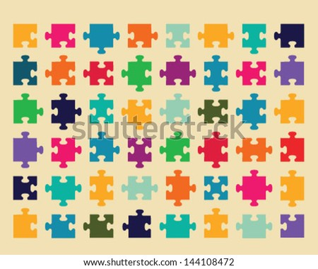 Illustration of colorful shiny puzzle 2, vector - stock vector