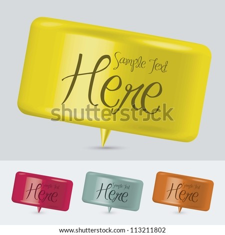 illustration of colorful text balloons, 3D, vector illustration - stock vector