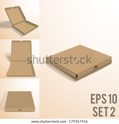 illustration of colorfull open pizza box. set2 - stock vector