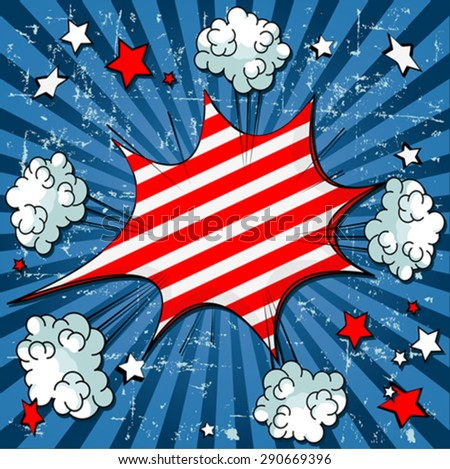 Illustration of comic book for 4th of July - stock vector