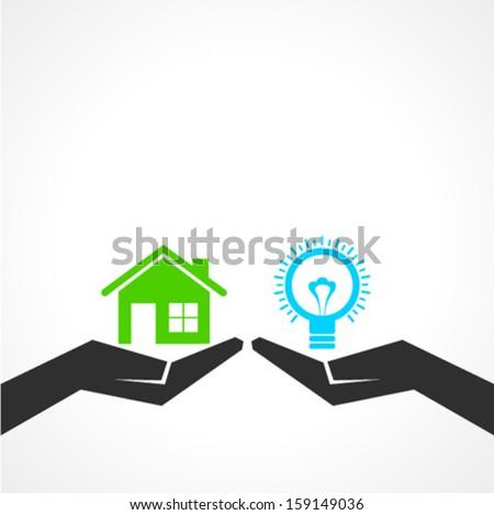 Illustration of compare home and idea concept - stock vector