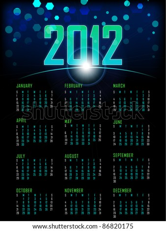 illustration of complete calendar for 2012 in abstract background - stock vector